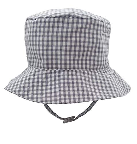 Huggalugs Baby & Toddler Boys Grey Gingham Seersucker Bucket Sun Hat UPF 25+ ()