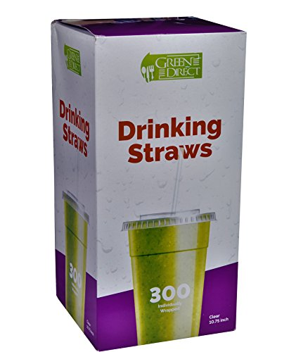 Green Direct Jumbo Plastic Drinking Straw 10.75 Inch long Individually Wrapped Clear Pack of 300