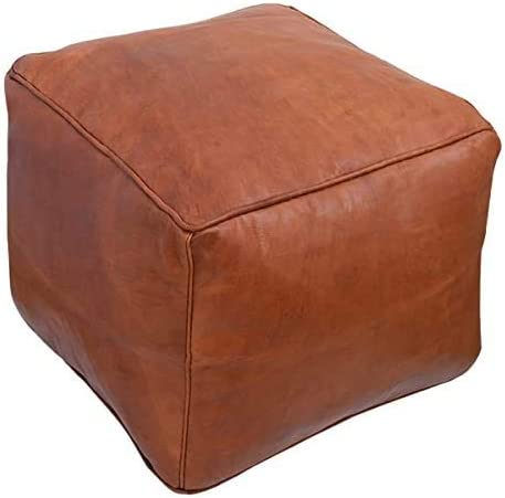 Prastara Moroccan Square Leather Pouf