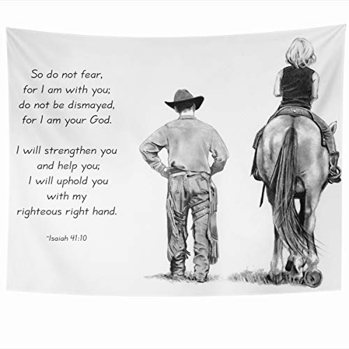 l Hanging 60x50 Inches Instruction Horse Pencil Drawing Cowboy Rider Isaiah Verse Bible Christian Faith Trust Comfort Home Decor Tapestries Art for Living Room Bedroom Dorm ()