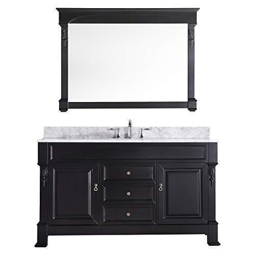 Virtu USA GS-4060-WMRO-DW Huntshire 60-Inch Single Sink Bathroom Vanity with Mirror and Ceramic Basin, Dark Walnut Finish
