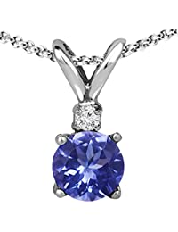 Ladies Genuine Diamond and Tanzanite Round Pendant (5mm) in Sterling Silver with Sterling Silver Chain (18'' with spring clasp), Jewelry for Women