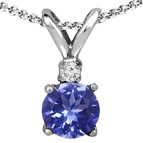 Voss+Agin Ladies Genuine Diamond and Tanzanite Round Pendant (5mm) in Sterling Silver with Sterling Silver Chain (18'' with Spring Clasp), Jewelry for Women