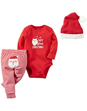 Carter's Baby My First Christmas 3 Piece Bodysuit Pant and Santa Hat Set