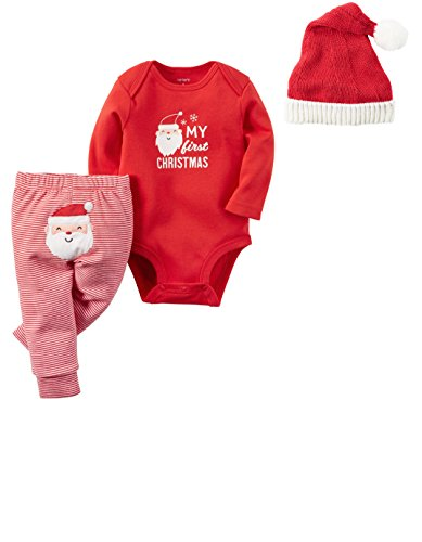 Carter's Baby My First Christmas 3 Piece Bodysuit Pant and Santa Hat Set Unisex (3 months) ()