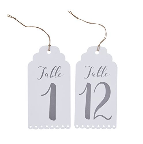 Ginger Ray White Wine Bottle or Centrepiece Wedding Party Table Numbers 1-12 - Beautiful Botanics -
