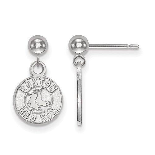 (MLB Boston Red Sox Sterling Silver MLB LogoArt Boston Red Sox Earrings Dangle Ball Size One Size)