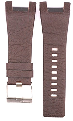 ZTD212 Fit for Diesel DZ1273 Replacement 32mm Brown Leather Watch Band Strap Free Spring BAR Tool DSL157 ()