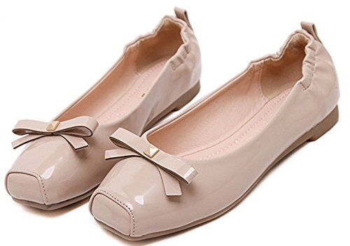 Womens Square Flats Closed Shoes Apricot Slip On Top Sweet Toe Low Easemax Bowknot gdwSqUHU