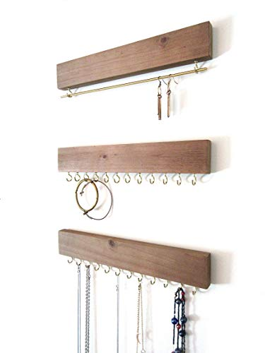 Art Collective Vintage Wall Mounted Jewelry Organizer - 3 Piece Set. Perfect for Necklace and Earrings Display