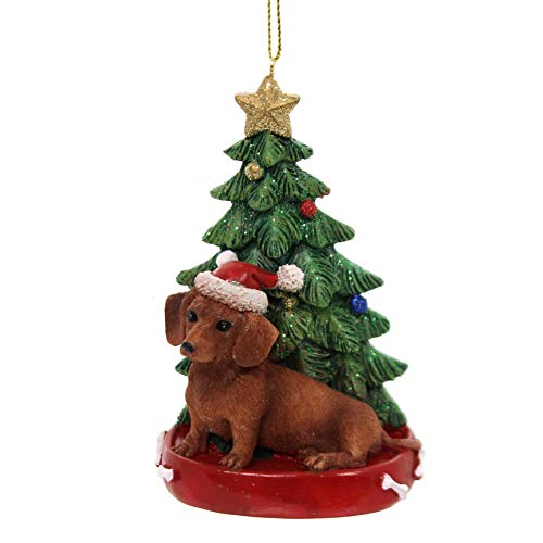Red Dachshund Ornaments - Holiday Ornaments Dog W/Christmas Tree Pet Puppy Best Friend C7615 Red Dachshund