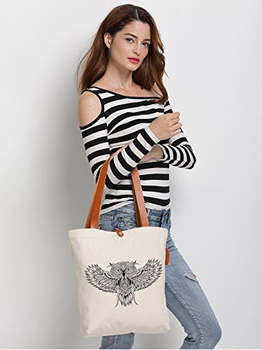 IN.RHAN Women's Owl Geometric Pattern Canvas Handbag Tote Bag Shoulder Bag