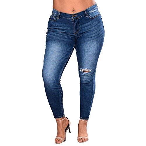 Gusspower Pantalones Sueltos Mujer Tallas Grandes Vaqueros Rotos Agujero Jeans Casuales Mezclilla Pantalones Grand Elástico Azul Oscuro