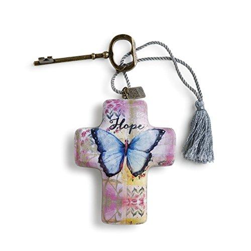 DEMDACO Hope Butterfly 4 x 3 Cross Shaped Resin Keepsake Decoration, Blue