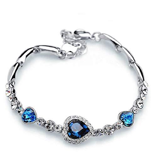 Myhouse Ocean Heart Women Girls Bracelets Zircon Crystal Bangles Opening Bracelet, Silver Color