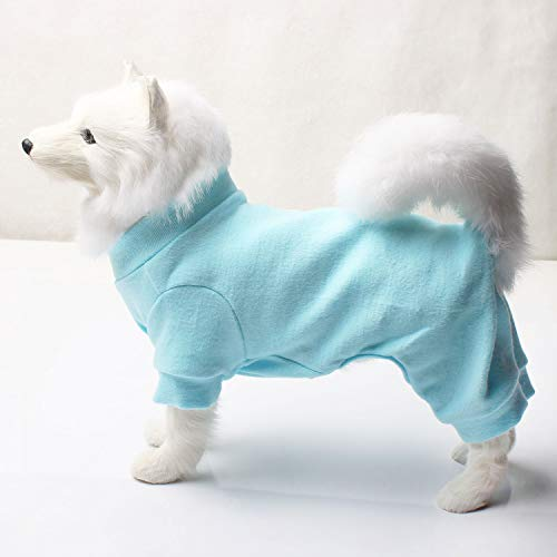 (TONY HOBY Dog Pajamas Dog Jumpsuits 4 Legs Dog pjs Cotton Made Pure Color Pet Clothes (L(8.8-12.1lbs, Light Blue))