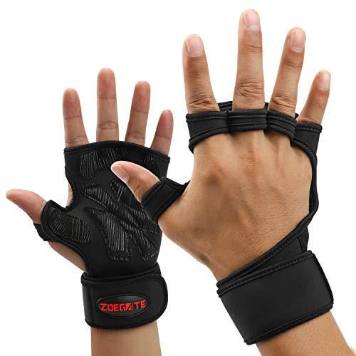 Sincerity Training Weight Lifting Gloves, Hand Grips Fingerless Gym Gloves with Wrist Wrap Support Palm Protection, for Pull Up Bar, Gym, Weightlifting, Deadlift, Calisthenics, Gymnastics - S/M