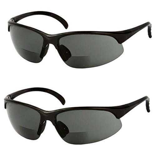 2 Pair of Bifocal Half Rim Sports Style - Smoke/Smoke Lens - Sunreader