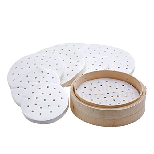 Eworld - Air Fryer Perforated Parchment Paper Liners - 50 Per Pack Bamboo Steamer Liners Great for Cooking all Foods Vegetables Rice Dim Sum - All Size (3# 7.87