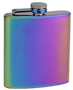 "Top Shelf Flasks Rainbow Colored ""Unicorn"" Hip Flask, 6 oz"