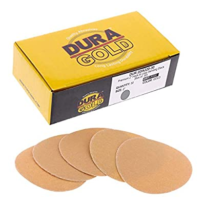 "Dura-Gold - Premium - 40 Grit 2"" Gold Hook & Loop Sanding Discs for DA Sanders - Box of 20 Sandpaper Finishing Discs for Automotive and Woodworking"