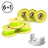 "X Home Weed Eater Replacement Spools Compatible with Ryobi One Plus+ 18V 24V 40V AC80RL3 with AC14HCA String Trimmer Cap Covers 11ft 0.080"" Cordless Auto-Feed Twist Single Line (6 Spool, 1 Cap)"