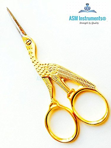 Professional Embroidery Cross Stitch Stork Scissors Gold Plated 4 Shears Craft ASM®