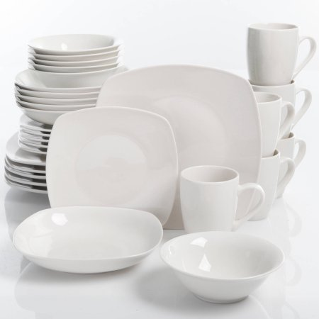 Gibson Home Liberty Hill 30-Piece Dinnerware Set, White, Microwave safe