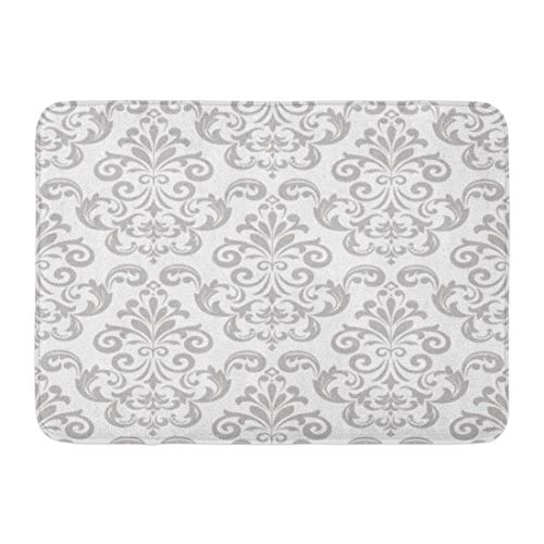 Rectangle Gold Rug Antique (Emvency Doormats Bath Rugs Outdoor/Indoor Door Mat Silver Damask in The of Baroque Gray and White Floral Graphic Pattern Antique Bathroom Decor Rug Bath Mat 16