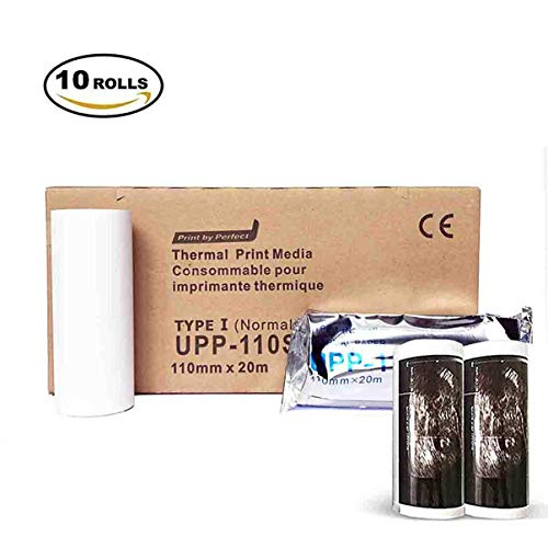 UPP 110S Ultrasound Printer Paper, Type I Black and White Video Thermal Paper New 110mm x 20m (10 Rolls)