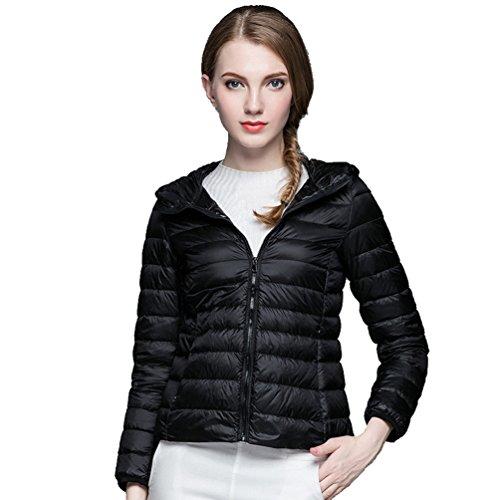 et Down capuche Zkoo Vestes noir avec à matelassé Jacket hiver Ultralight automne Slim Femmes Short manteau Down SSwfqn6