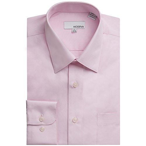 Modena Men's Long Sleeve Dress Shirt - All Sizes (Including Big & Tall) (20 34/35, Pink)
