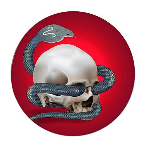 (JONHBKD Human Skull Entwined by Snake Round Floor matIdeal Front or Back Door,Bathroom,Kitchen,Balcony,Entrance)