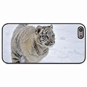 iPhone 5 5S Black Hardshell Case tiger snow winter jump Desin Images Protector Back Cover