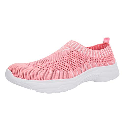 2019 New Women's Summer Casual Breathable Loose Sports Shoes Outdoor Flying Woven Running Walking Soft Loafers Sneakers (Pink, US:6) ()