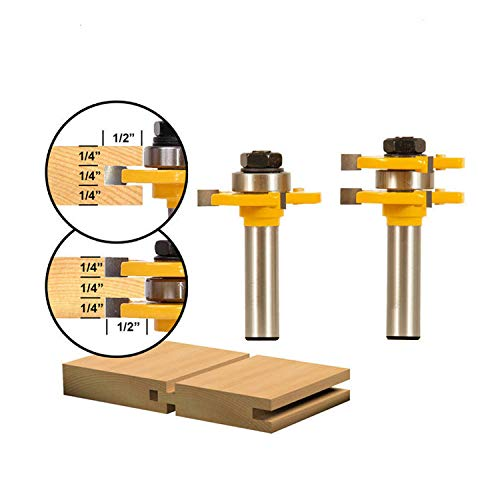 Solid Wood Slot Machine Cabinet - LoveDeal 1/2 Inch Shank Tongue and Groove Router Bit Set, 3 Teeth T Shape Molding Wood Milling Cutter, Adjustable Wood Door Flooring Woodworking Tool, for Kitchen, Bathroom, Cabinet(2 PCS)