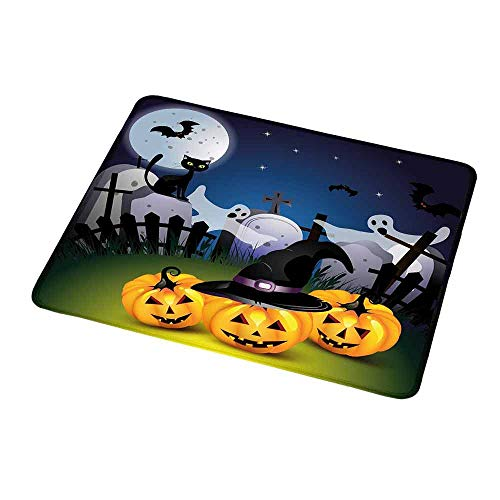Mouse Pad Rubber Mousepad Halloween,Funny Cartoon Design with Pumpkins Witches Hat Ghosts Graveyard Full Moon Cat,Personality Desings Gaming Mouse Pad 9.8