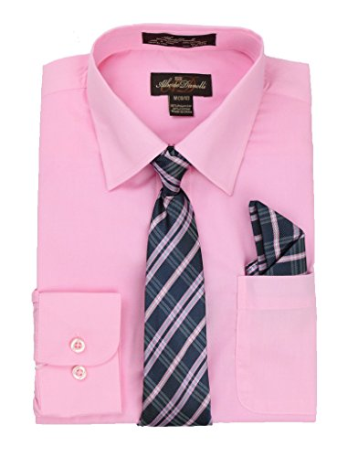Boys In Pink Dresses - Alberto Danelli's Boys Long Sleeve Dress Shirt with Matching Tie and Handkerchief, 6, Blush