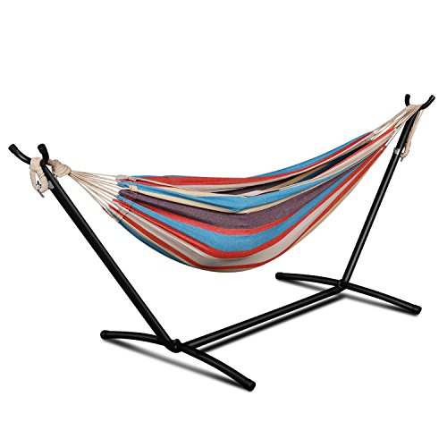 Flexzion Double Hammock with Space Saving Steel Stand Portable Carrying Pouch Case Hanging Rope for Outdoor Camping Backpacking Hiking Garden Beach Yard 450 lbs Capacity for 2 Person Tropical Stripe