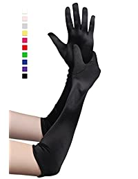 "BABEYOND 1920s Satin Gloves Wrist Length 20.5"" (Smooth 20.5in-Black)"