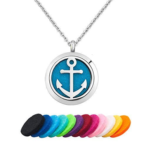 (Moonlight Collection Sailor Anchor Perfume Pendant Locket Essential Oil Diffuser Necklace Aromatherapy Jewelry + Refills)