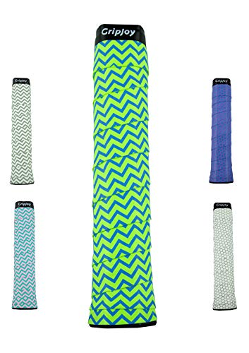 GripJoy Tennis Overgrip (3-Pack) - Non-Slip Rackets (Chevron Green&Blue) ()