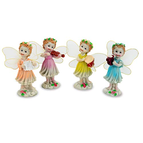 (4 Pieces Angel Garden Figurines Ornaments-Miniature Hand Painted Collectible Fairy for House Office Outdoor Decor (Standing))