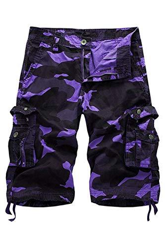 HSRKB Men's Belted Cargo Short Work Shorts for Men (Purple Camouflage, 30)