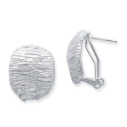 (Sterling Silver Polished Clip Omega Back Fancy Patterned Earrings Length 20mm)