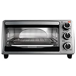 BLACK+DECKER TO1303SB 4-Slice Toaster Oven, Includes Bake Pan, Broil Rack & Toasting Rack, Stainless Steel/Black