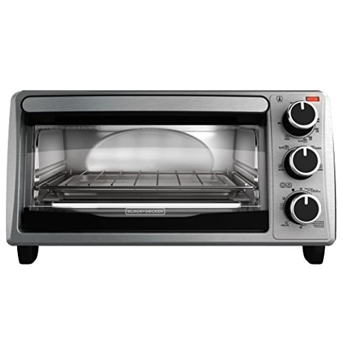 (BLACK+DECKER 4-Slice Toaster Oven, Stainless Steel, TO1303SB, 14.5 x 8.8 x 10.8 inches ; 7.5 pounds, Black)