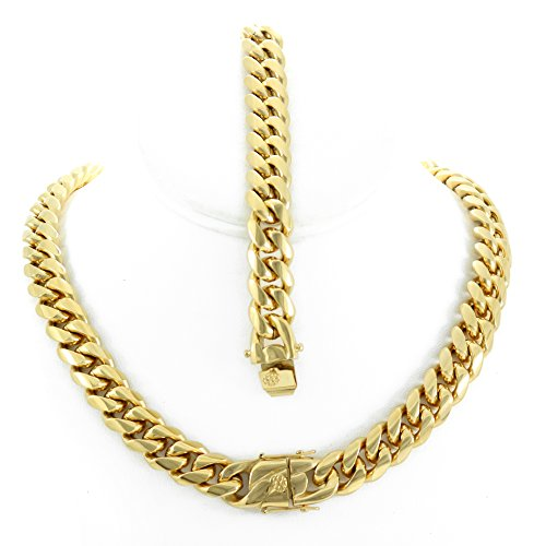 Solid 14k Yellow Gold Finish Stainless Steel 14mm Thick Miami Cuban Link Chain Box Clasp Lock (Chain 30'' & Bracelet 9'') ()