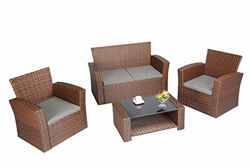 Baner Garden 4 Piece Outdoor Furniture Wicker Rattan Patio Backyard Garden Set with Grey Cushions, Full, Brown - Quality - Banner Garden outdoor furniture is built for comfort With deep seating supported by rust resistant powder coated Steel frames. Comes with smoke grey cushions. Handwoven - each piece is meticulously woven with high grade PE Rattan wicker and is a patio Furniture staple for any porch, patio, pool or sunroom Low maintenance - All weather Wicker and Cushions only require minor spot cleaning with a damp rag, water, and mild soap for endless beauty season after season - patio-furniture, patio, conversation-sets - 411dDrx55hL -
