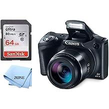 [Patrocinado] Canon PowerShot SX420 Cámara digital con zoom óptico de 42x - Wi-Fi y NFC habilitado (negro) + tarjeta de memoria SD de 64 GB